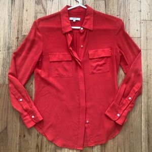 Madewell Silk Coral Red Button-Up, XS